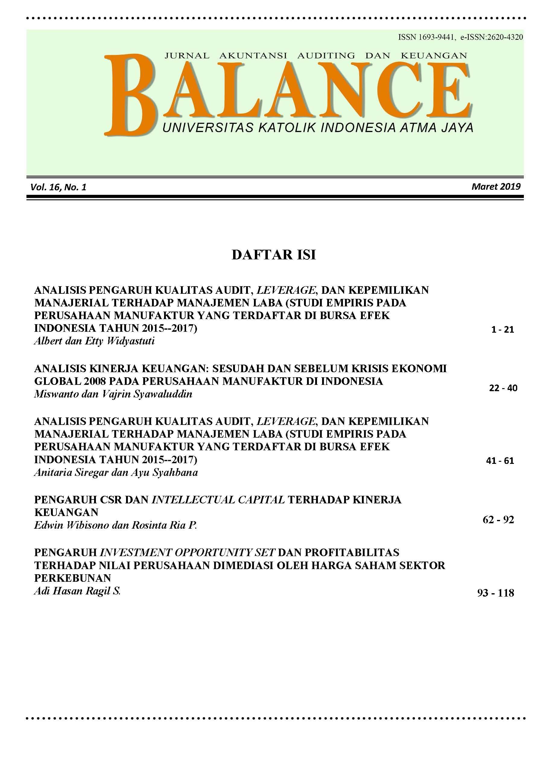 BALANCE: Jurnal Akuntansi, Auditing dan Keuangan, Vol.16 No.1 2019
