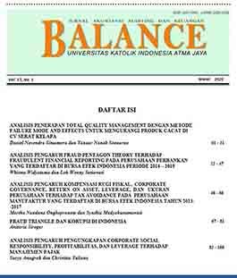 BALANCE: Jurnal Akuntansi, Auditing dan Keuangan, Vol.17 No.1 2020